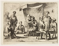 scene di vita popolare (2 works) by cornelis de wael