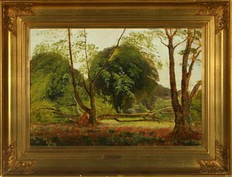 forest with brought down tree in the background house by carl frederik peder aagaard
