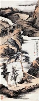 仿石涛松水石桥图 by zhang daqian