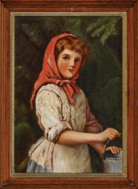 young russian girl in red scarf holding a bucket by ivan semionovich kulikov