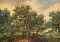 a wooded landscape with a fisherman by a stream by isaac van oosten