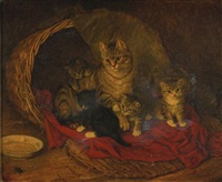 cat and kittens by frank paton
