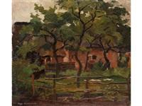 bauerngehöft unter bäumen hinter einem weidezaun - farm building in het gooi, fence and trees in the foreground by piet mondrian