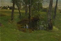 teich in baumlandschaft by oskar frenzel