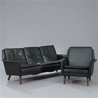 three-seater sofa and easy chairs (set of 4) by folke ohlsson