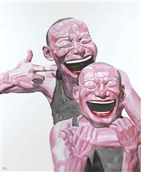smile-ism v two friends by yue minjun