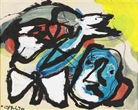 komposition med ansikte, fågel och fjäril by karel appel