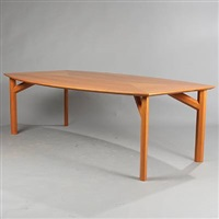 convex shaped dining/conference table (model 7838) by rud thygesen and johnny sorensen