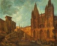 fachada de la catedral de burgos con la fuente de santa maría by genaro perez villaamil