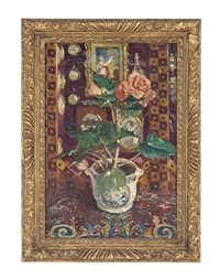roses and paintings in an interior by paul ayshford methuen