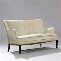 freestanding 2,5 seater sofa with tapering stained beech legs by frits henningsen