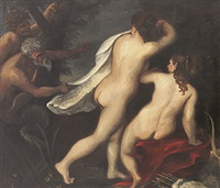 diana und gespielin beim bade werden von zwei faunen gestört by ernst friedrich knauf