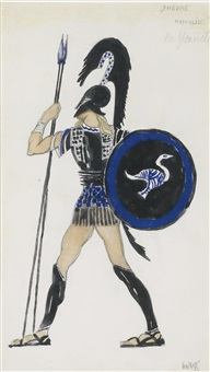 costume design for hippolytus from phèdre (collab. w/studio) by leon bakst