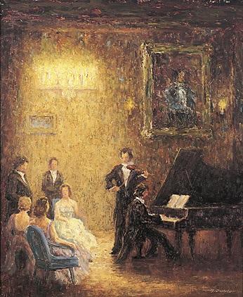 hauskonzert mit klavier und geige vor festlichem publikum in einem großen von kerzen erhellten raum by hans gabler
