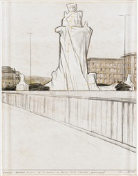 wrapped fountain (project for la fontana jujol, plaza d'españa, barcelona) by christo and jeanne-claude