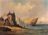 küstenpartie mit segelbooten und einer stadt by a. gins