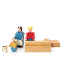 farmer family in the form of husband, wife, little boy and little dog (set of 6) by kay bojesen