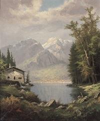 schweiz. gebirgssee mit städtchen und aufragendem massiv by krämer-braun