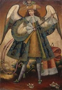 engel der anden. nach links gewandt, eine flinte haltend by peruvian school-cuzco