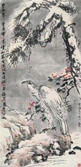 松鹰图 by zhu lesan, wu fuzhi, zhu wenhou, and liu haisu