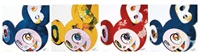 and then blue 3000; and then 3000 red; and then yellow universe; & and then x6 blue (4 works) (set of 4) by takashi murakami