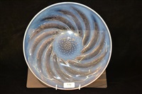 a poissons flaring glass dish by rené lalique