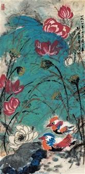刘海粟(1896-1994) 红荷鸳鸯 by liu haisu