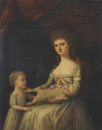 portrait of a lady with two children by anglo-american school (19)