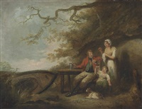 a wooded landscape with a family at rest by a cottage by george morland