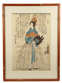 yokohama-e (western subject) oban tate-e (from book 'sovereigns of the world'), depicting queen victoria of england by utagawa yoshitora