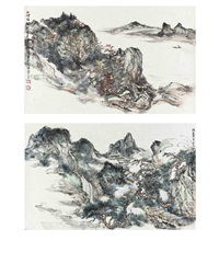 landscape paintings (2 works) by hong bo