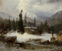 winterlandschaft mit kapelle (+ winterlandschaft mit felsbrocken; 2 works) by michael sachs