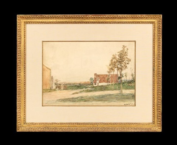 landscape with houses by johan barthold jongkind