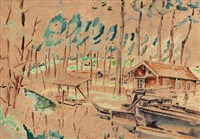 landscape with house and boat by maria-mela muter