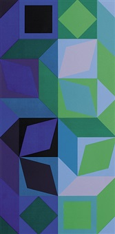 ohne titel. komposition in blau-, violett- und grüntönen by victor vasarely