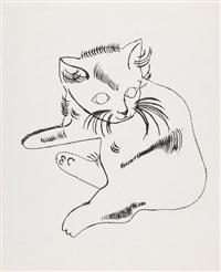reclining cat (samsam) by andy warhol