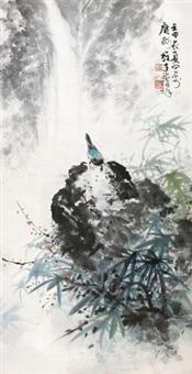 山泉小鸟 镜片 设色纸本 by li xiongcai