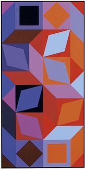 ohne titel. komposition in blau-, violett- und rottönen mit schwarzer umrahmung by victor vasarely