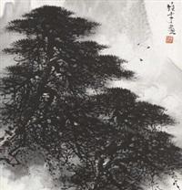 松树 镜框 设色纸本 by li xiongcai