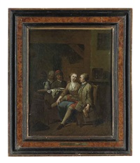 a couple eating and drinking in an interior by jan baptist lambrechts