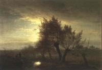 paysage au clair de lune avec personnages by ch. de winter