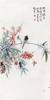 双栖图 镜片 设色纸本 by li xiongcai