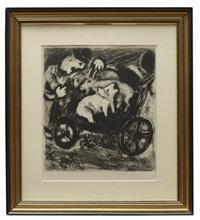 le berger et son troupeau (from les fables de la fontaine) by marc chagall