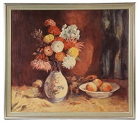 still life with vase of flowers & bowl of fruit by fritz hass