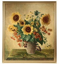 still life with vase of flowers by fritz hass