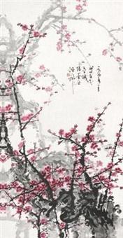 红梅图 镜片 设色纸本 by guan shanyue