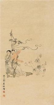 献寿图 立轴 设色纸本 by jin nong