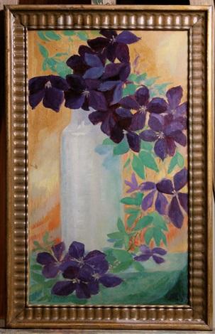 stilleben mit clematisranken und vase by albinmüller