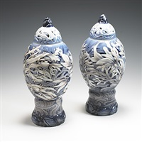 lidded vases (pair) by effie hegermann-lindencrone