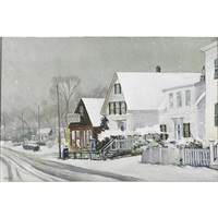 provincetown street in the snow by frank milby